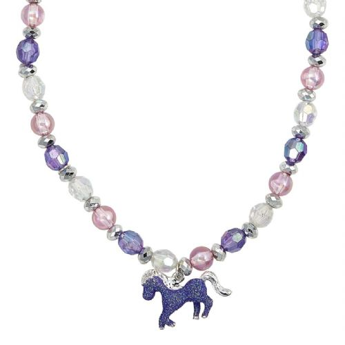 Glitter Horse Necklace in Pink or Blue